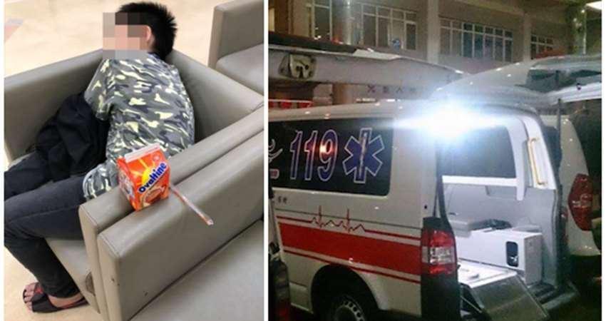 半夜起床看到阿嬤被壓在機車下,小四童冷靜打119,累癱睡倒在醫院!
