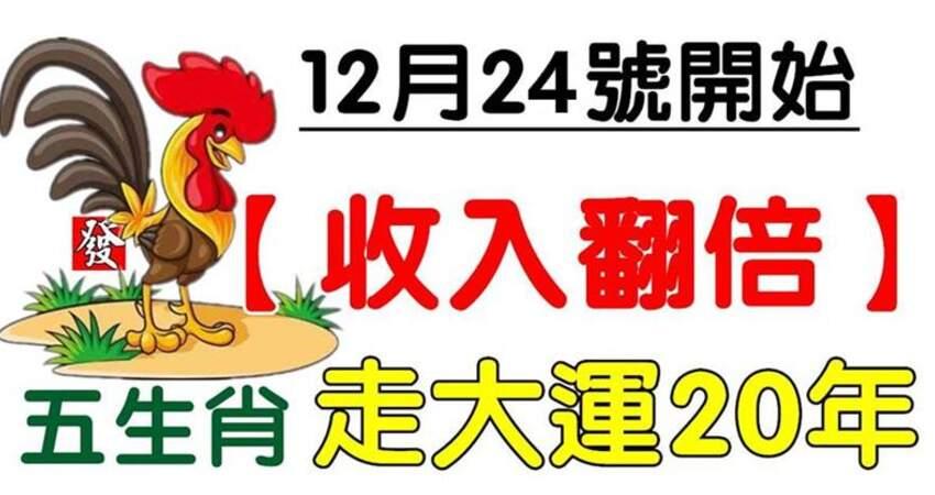 12月24號開始(收入翻倍)五生肖走大運20年