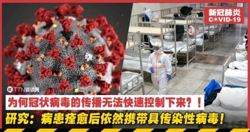 為何冠狀病毒的傳播無法快速控制下來?!研究:病患痊癒後依然攜帶具傳染性病毒!