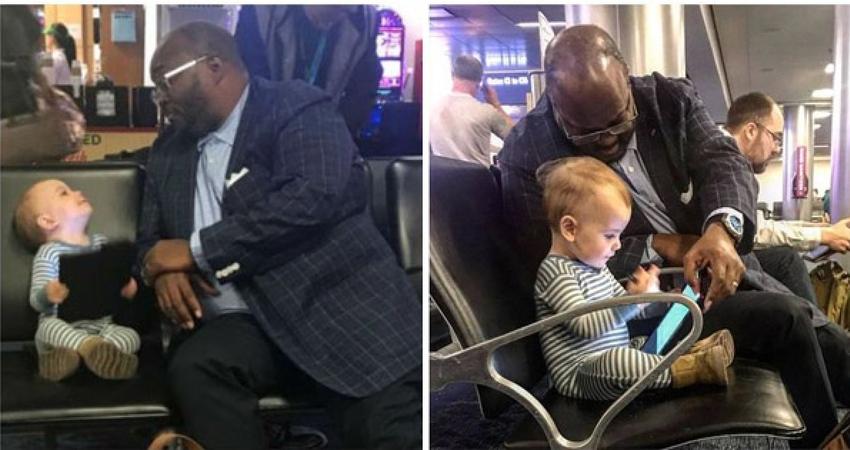 1歲娃機場亂搭訕! 爸感動PO「陌生大叔暖舉」:謝謝你當她朋友