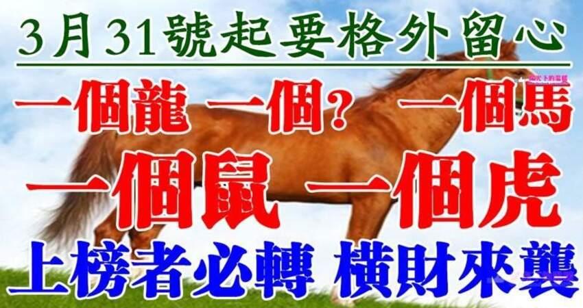 3月31號開始要格外留心了,一個龍,一個?,一個馬,一個鼠,一個虎必須轉啊