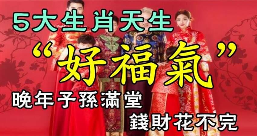 五大生肖天生(好福氣)晚年子孫滿堂,錢財花不完
