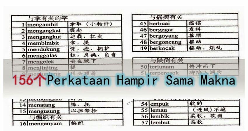 156個PerkataanHampirSamaMakna