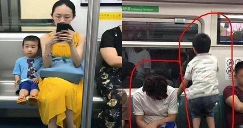 同一節車廂、兩個不同的家庭,讓人深深體會家教的重要!網友:兩張照片足以看出兩個孩子的未來!