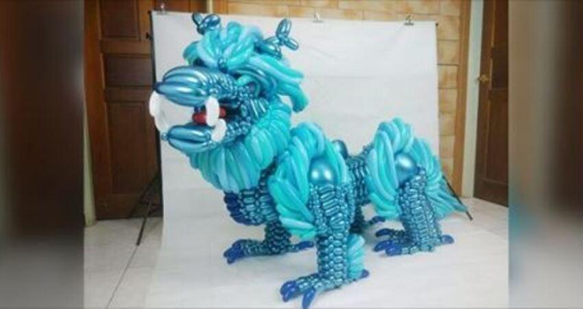 台灣國三生手作「半身高青色麒麟」 20小時+500條氣球完成大師級作品