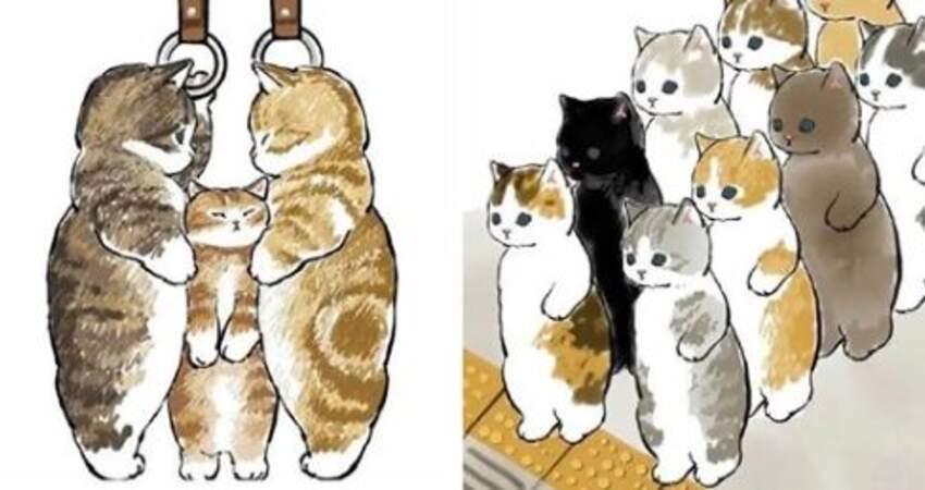 如果貓咪也要上班~ 插畫家「擠地鐵的貓」玻璃拍滿肉球反而好療癒♡