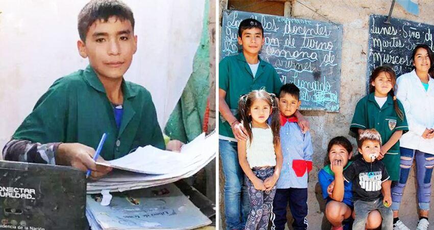 9歲就當上校長! 天使男童為「貧困同學」在後院開課教書