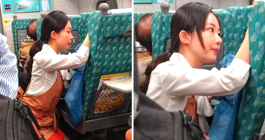 女乘客高鐵崩潰1hr! 服務員全程「跪地安撫」天使側顏獲讚:人美心更美❤