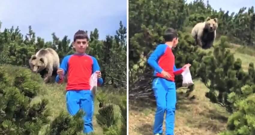 踏青背後冒出一隻熊! 12歲弟「太空漫步式」淡定臉下坡:真的不用理我沒關係…
