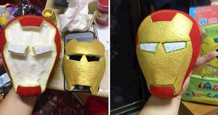 老爸為兒子的柚子比賽神還原「鋼鐵人面具」 網笑:家長們又互相較勁了