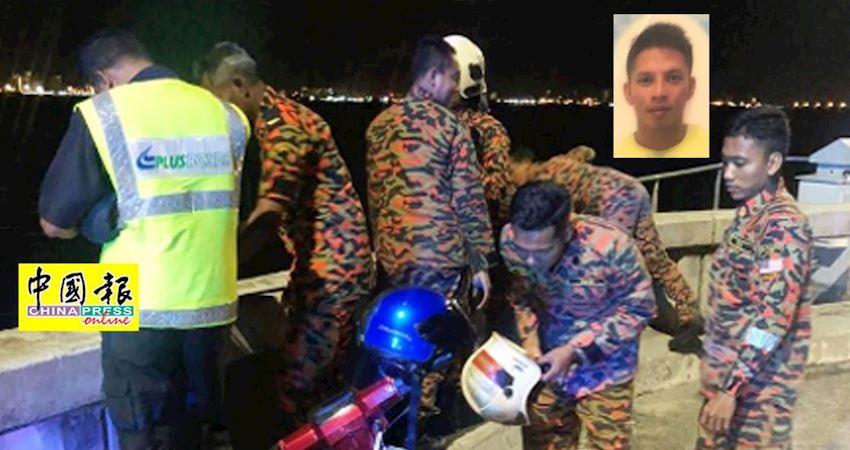 摩哆停放緊急通道,華青疑跳海,檳大橋墜下失蹤。