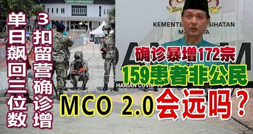單日飆回三位數!3扣留營確診新增172名,MCO2.0會遠嗎?