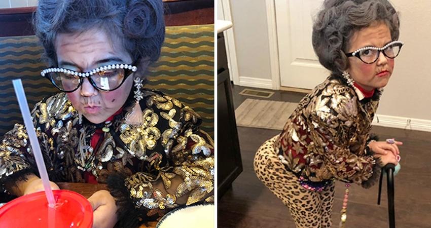 6歲女孩變身「100歲老富婆」轟動幼稚園 一卸妝全網驚呼:可以出道了