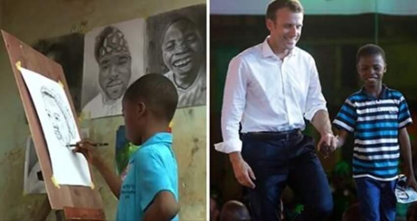 繪畫小神童!非洲11歲男孩「現場畫法國總統」 2小時後成果超驚豔:全世界都看到他了!