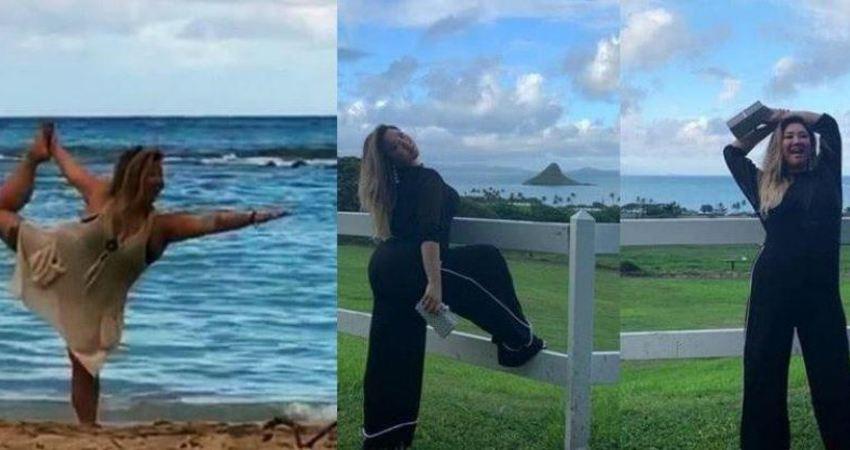 鄭欣宜與男友人海邊練瑜伽,在愛情滋潤下身材又回到了減肥前!