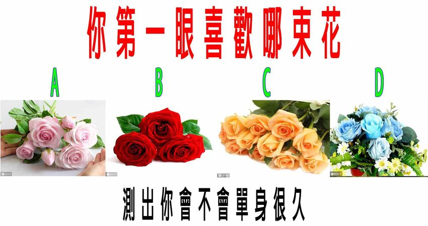 心理測試:你第一眼喜歡哪束花,測出你會不會單身很久