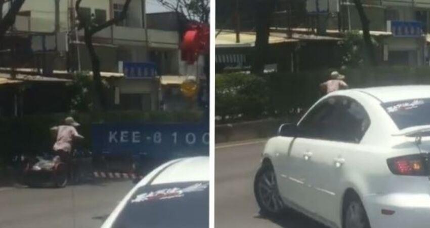 彰化一名阿嬤「超慢三輪車」猛擠快車道,白轎車「出手協助」!影片曝光網友罵翻!