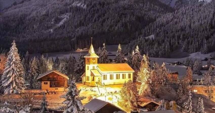 瑞士的雪夜,童話般的世界