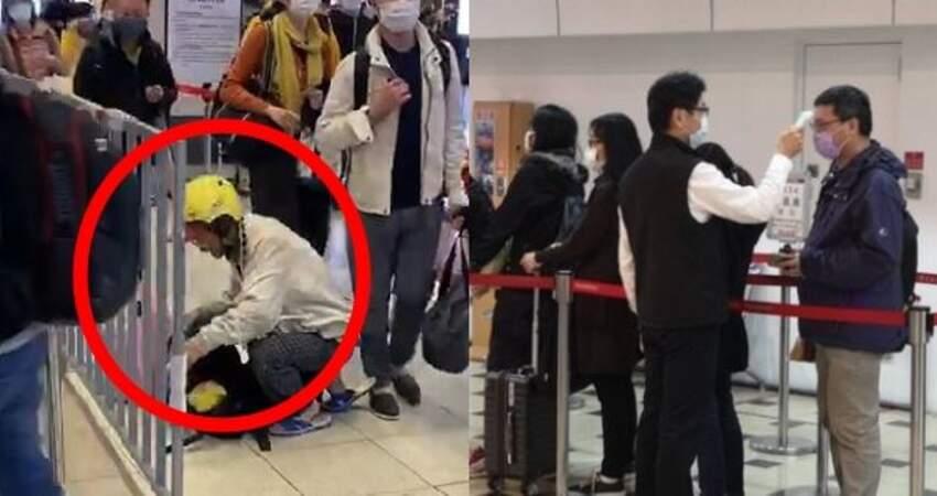 儘管疫情當前,台灣最美風景,依然是人!中年大叔「硬戴」兒童口罩進入車站,耳帶卻突斷了,無助蹲地不知如何是好