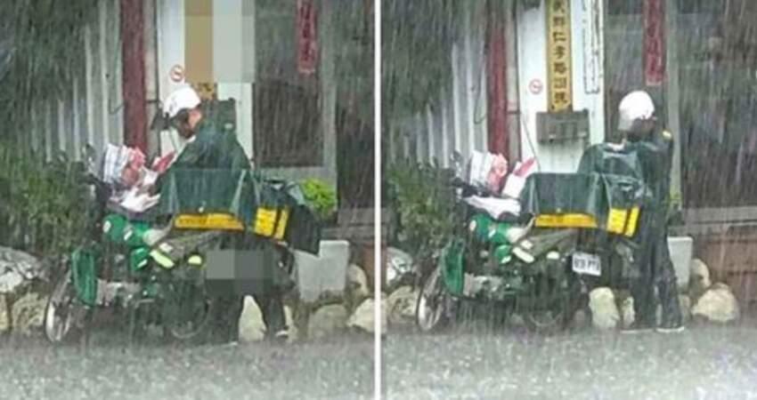 雨彈突澆頭!郵差哥淋雨「也要先保護信件」 萬人感動:敬業真男人!