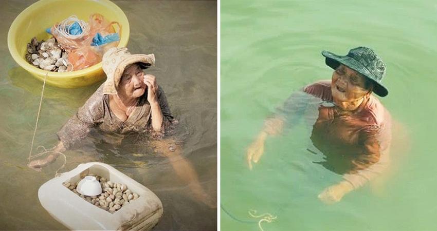 85歲老奶奶「泡海水工作」養精障女兒 困境中仍樂觀:要養她直到自己走不動