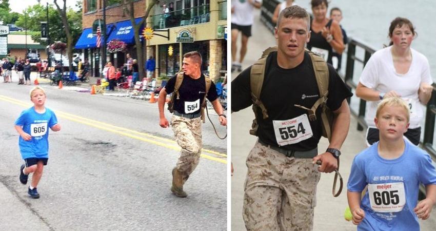 超暖士兵「陪9歲男孩跑完馬拉松」放棄奪勝!快到終點「真男人暖舉被讚爆」他謙虛:男人該做的事