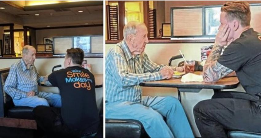 91歲老翁聽不見!店員「跪著幫他講解菜單」全程陪吃飯 客人見狀「決定偷偷送暖」感動全網