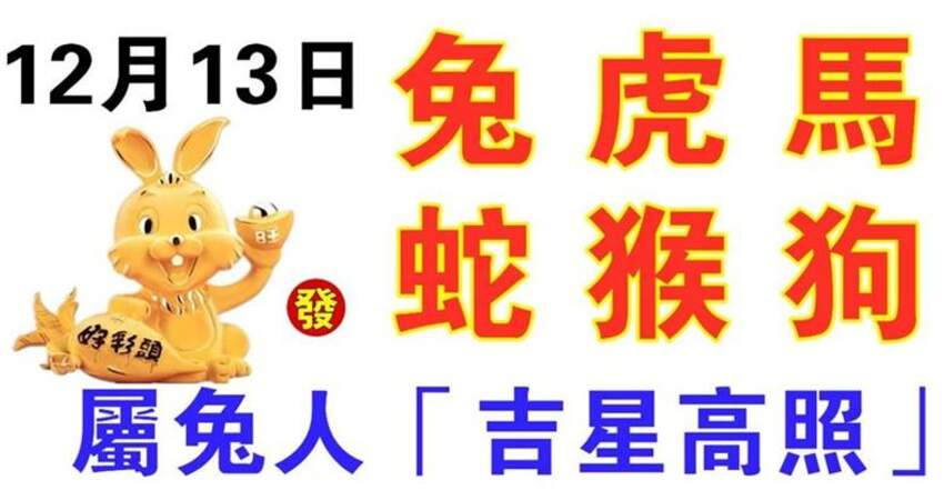 12月13日生肖運勢_兔、虎、馬大吉