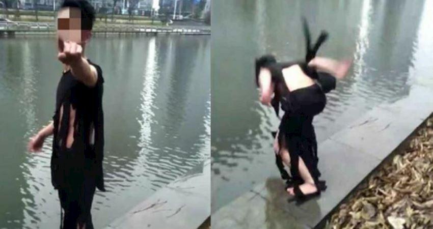 紅了就不上班!他直播跳河衝人氣13秒畫面成死亡實錄