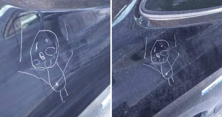養小孩好難!4歲女兒汽車上塗鴉「麵包超人」 爸爸含淚收下禮物:畫得很好