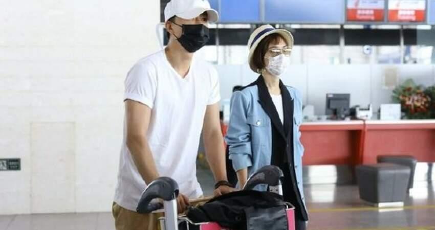 韓庚真寵媳婦,機場自己推行李太爺們,盧靖姍穿西裝只管貌美如花