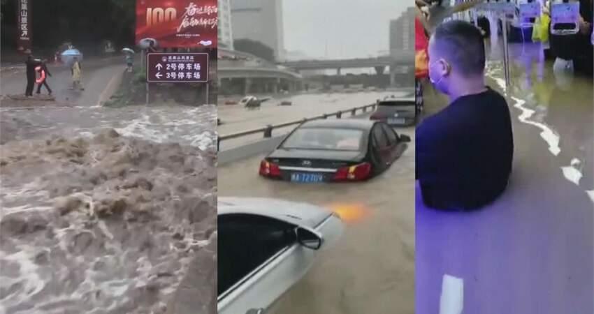 水淹成人胸!洪災倒灌鄭州地鐵民眾「輪流舉小孩」