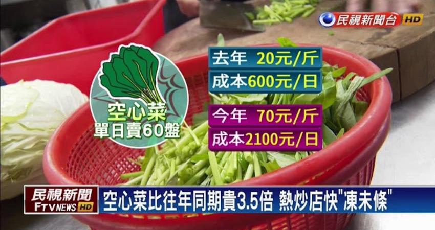換季菜價飆 空心菜成本貴3.5倍