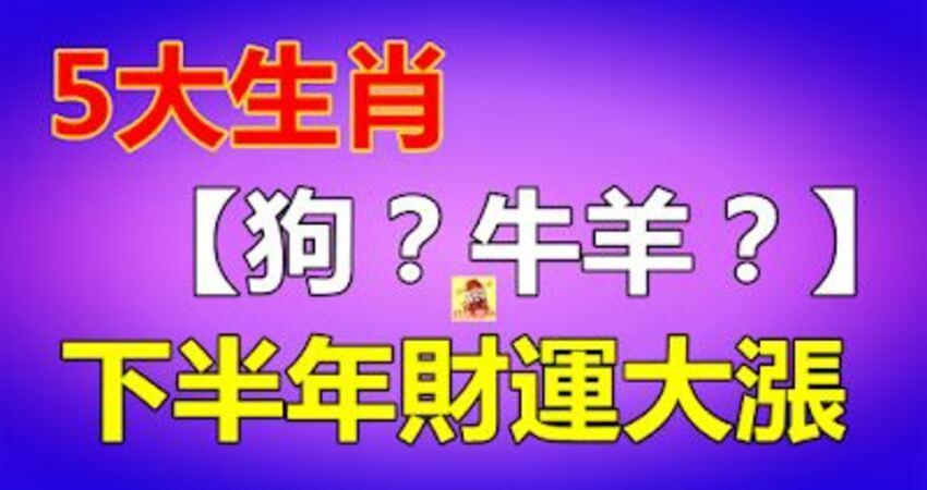 下半年財運大漲的5大生肖!【狗?牛羊?】