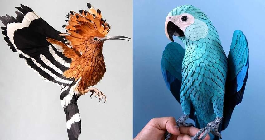 永遠收藏自然之美~ 藝術家紙片做出「假鳥」獲驚嘆:下一秒就要飛